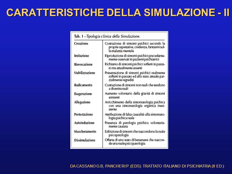 CARATTERISTICHE DELLA SIMULAZIONE - II DA CASSANO G.B, PANCHERI P. (EDS). TRATTATO ITALIANO DI PSICHIATRIA (II ED.)