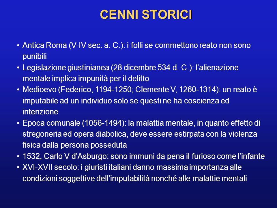 CENNI STORICI Antica Roma (V-IV sec. a. C.): i folli se commettono reato non sono punibili Legislazione giustinianea (28 dicembre 534 d. C.): lalienaz