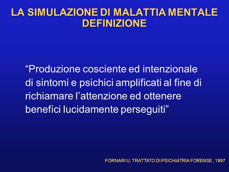 LA SIMULAZIONE DI MALATTIA MENTALE DEFINIZIONE Produzione cosciente ed intenzionale di sintomi e psichici amplificati al fine di richiamare lattenzion