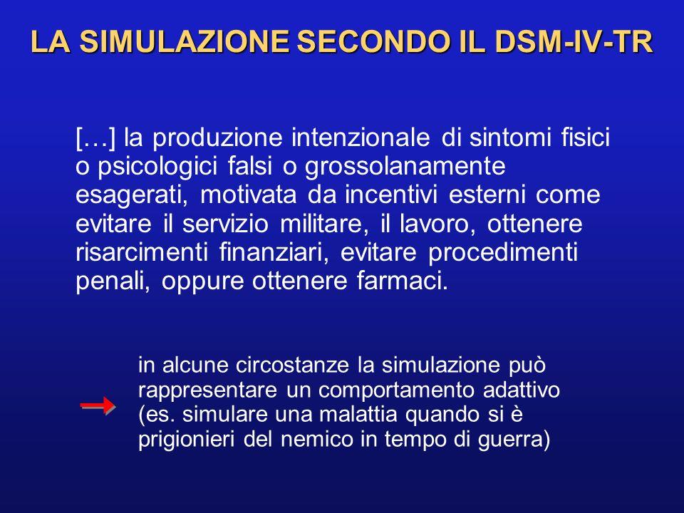 LA SIMULAZIONE SECONDO IL DSM-IV-TR […] la produzione intenzionale di sintomi fisici o psicologici falsi o grossolanamente esagerati, motivata da ince
