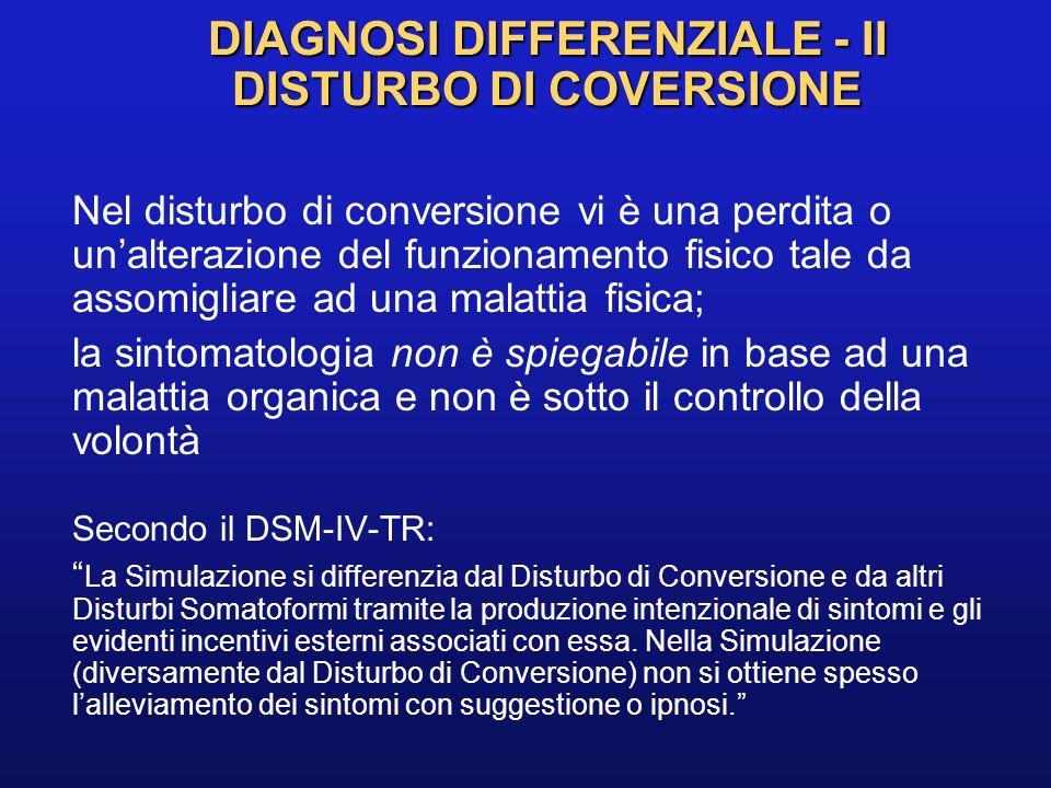DIAGNOSI DIFFERENZIALE - II DISTURBO DI COVERSIONE Nel disturbo di conversione vi è una perdita o unalterazione del funzionamento fisico tale da assom