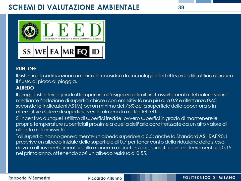 Riccardo Arlunno Rapporto IV Semestre 39 SCHEMI DI VALUTAZIONE AMBIENTALE RUN_OFF Il sistema di certificazione americano considera la tecnologia dei t