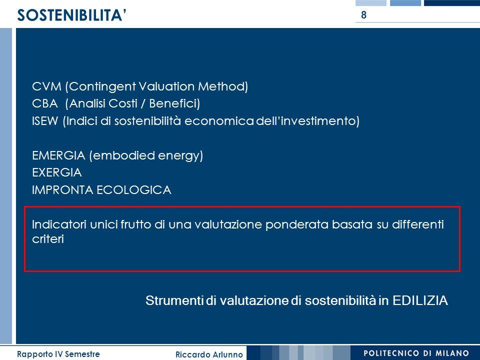Riccardo Arlunno Rapporto IV Semestre 8 SOSTENIBILITA CVM (Contingent Valuation Method) CBA (Analisi Costi / Benefici) ISEW (Indici di sostenibilità e
