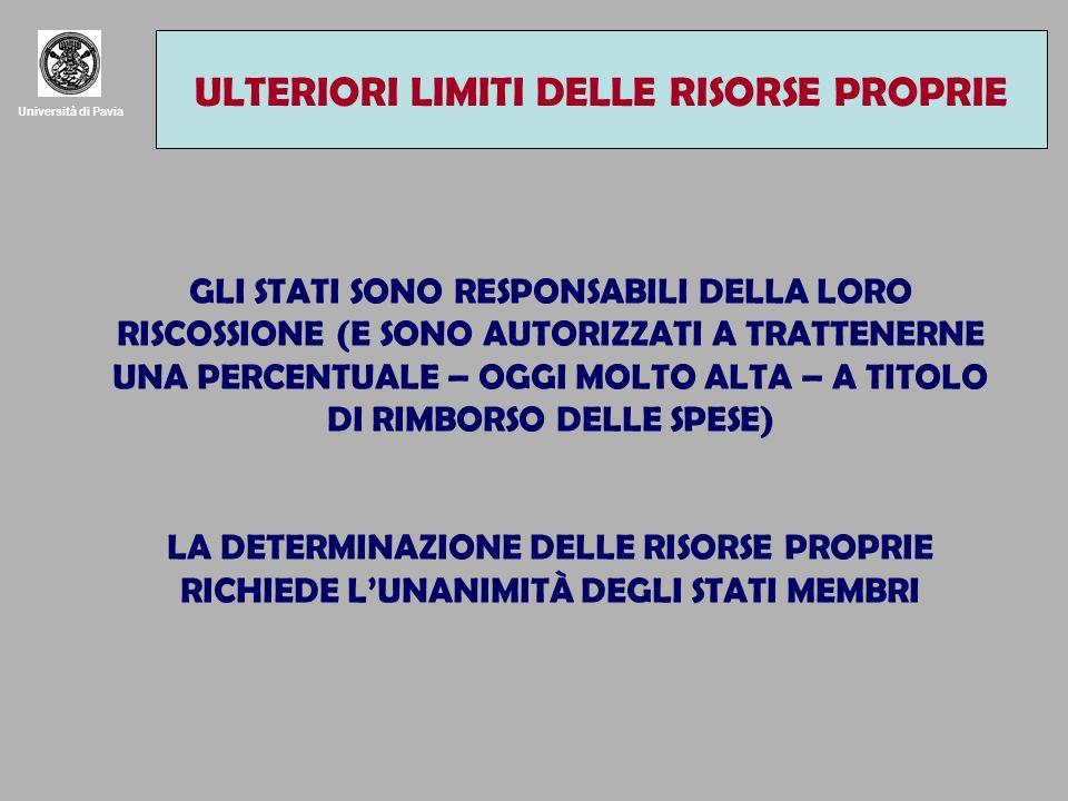 Università di Pavia LA QUARTA RISORSA E IL PARADOSSO DELLE RISORSE PROPRIE ULTERIORI LIMITI DELLE RISORSE PROPRIE GLI STATI SONO RESPONSABILI DELLA LORO RISCOSSIONE (E SONO AUTORIZZATI A TRATTENERNE UNA PERCENTUALE – OGGI MOLTO ALTA – A TITOLO DI RIMBORSO DELLE SPESE) LA DETERMINAZIONE DELLE RISORSE PROPRIE RICHIEDE LUNANIMITÀ DEGLI STATI MEMBRI