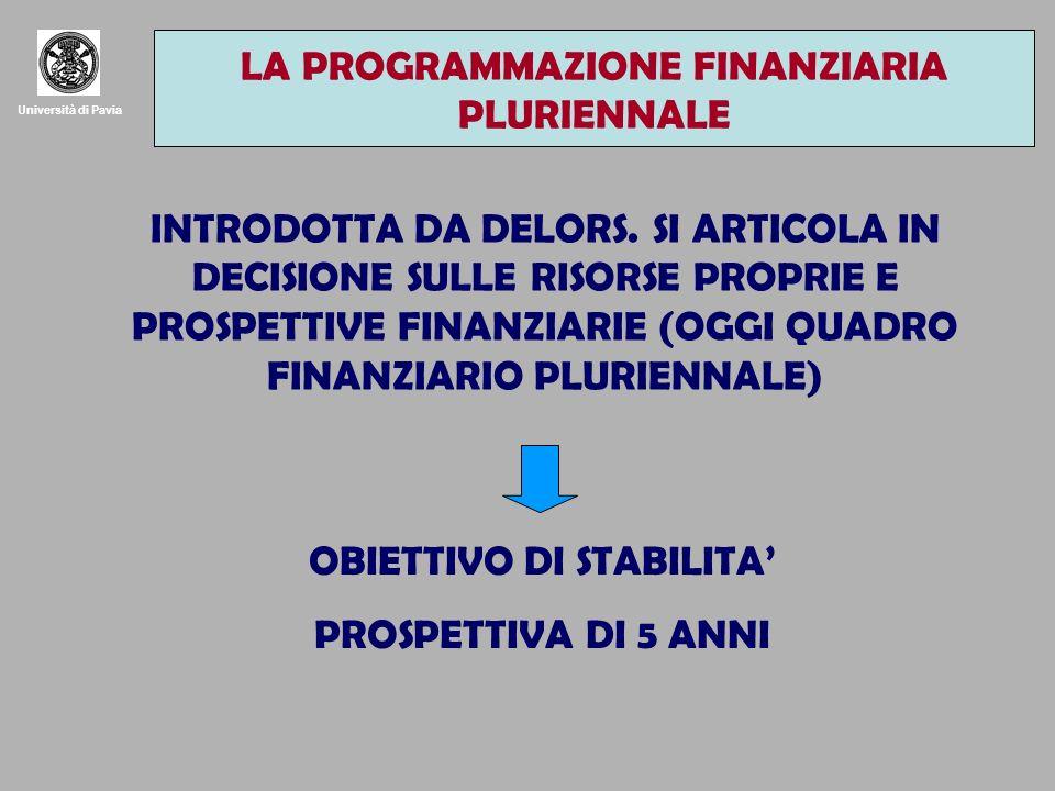 Università di Pavia LA PROGRAMMAZIONE FINANZIARIA PLURIENNALE INTRODOTTA DA DELORS.