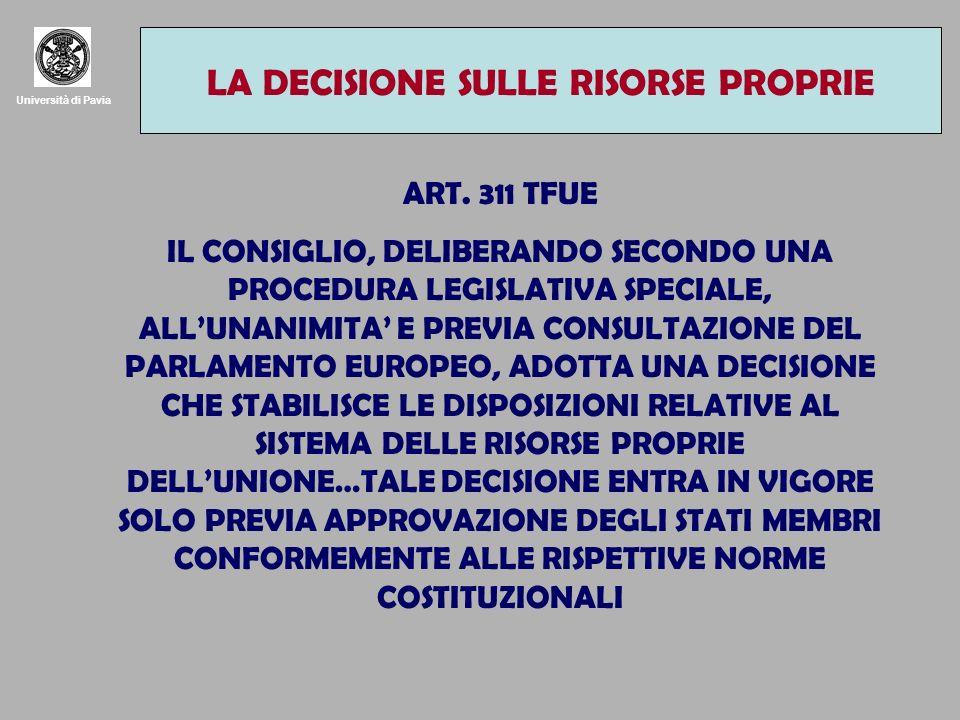 Università di Pavia LA DECISIONE SULLE RISORSE PROPRIE ART.