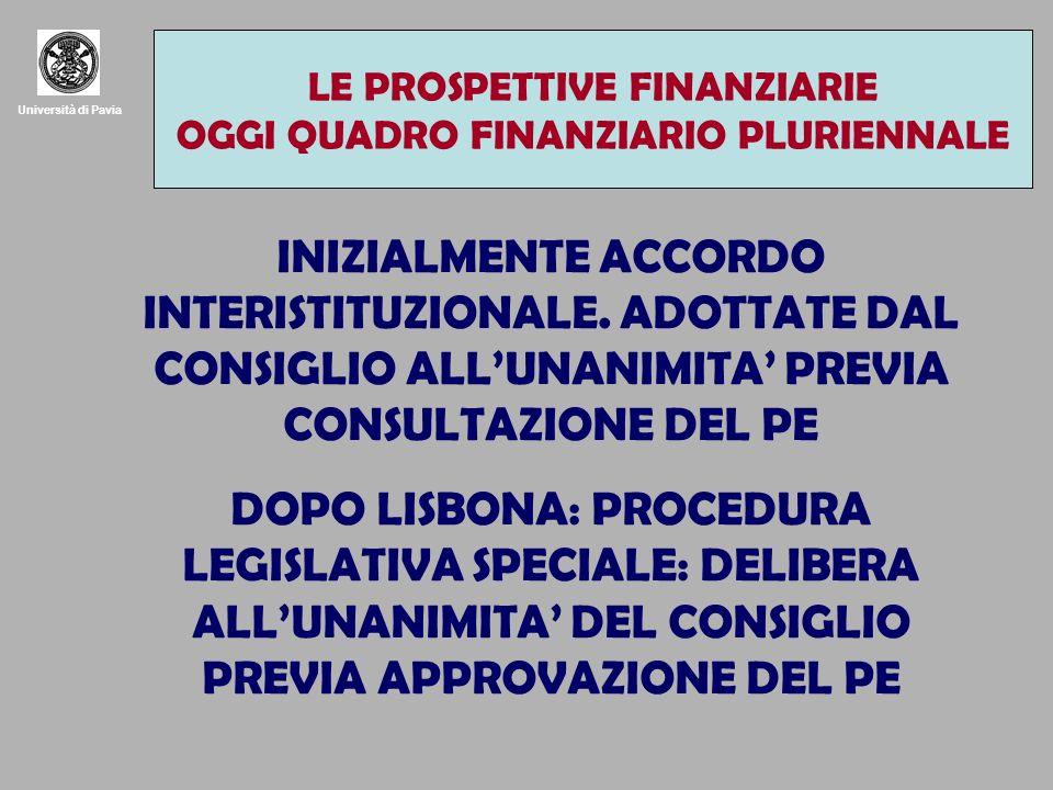 Università di Pavia INIZIALMENTE ACCORDO INTERISTITUZIONALE.