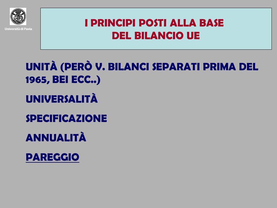 Università di Pavia I PRINCIPI POSTI ALLA BASE DEL BILANCIO UE UNITÀ (PERÒ V.