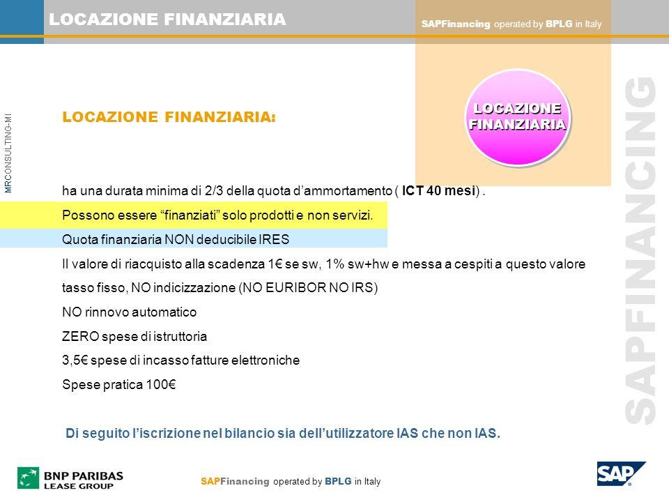 SAPFinancing operated by BPLG in Italy SAPFINANCING LOCAZIONE FINANZIARIA LOCAZIONE FINANZIARIA: ha una durata minima di 2/3 della quota dammortamento