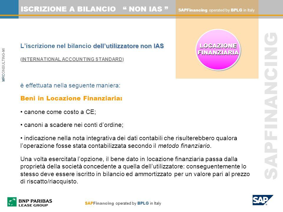 SAPFINANCING ISCRIZIONE A BILANCIO NON IAS dellutilizzatore non IAS Liscrizione nel bilancio dellutilizzatore non IAS (INTERNATIONAL ACCOUNTING STANDA