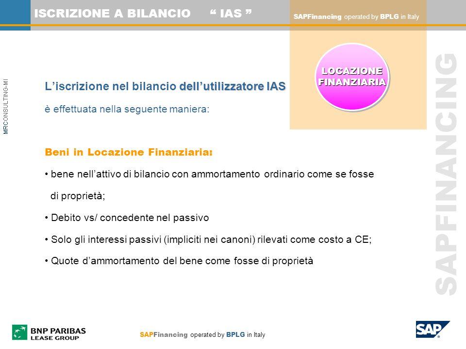 SAPFINANCING ISCRIZIONE A BILANCIO IAS dellutilizzatore IAS Liscrizione nel bilancio dellutilizzatore IAS è effettuata nella seguente maniera: Beni in