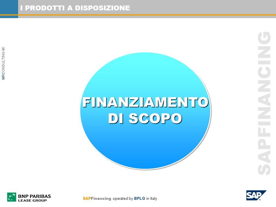 SAPFINANCING I PRODOTTI A DISPOSIZIONE FINANZIAMENTO DI SCOPO FINANZIAMENTO