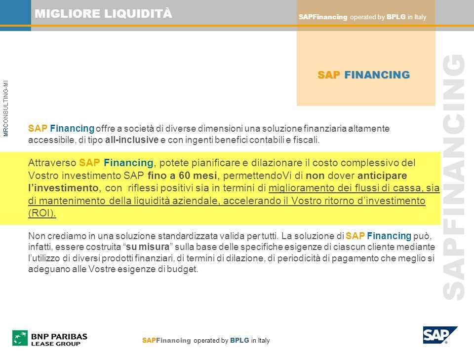 SAPFINANCING MIGLIORE LIQUIDITÀ SAP Financing offre a società di diverse dimensioni una soluzione finanziaria altamente accessibile, di tipo all-inclu