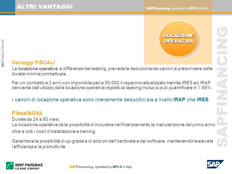 SAPFinancing operated by BPLG in Italy SAPFINANCING ALTRI VANTAGGI locazione operativa Vantaggi FISCALI La locazione operativa, a differenza del leasi