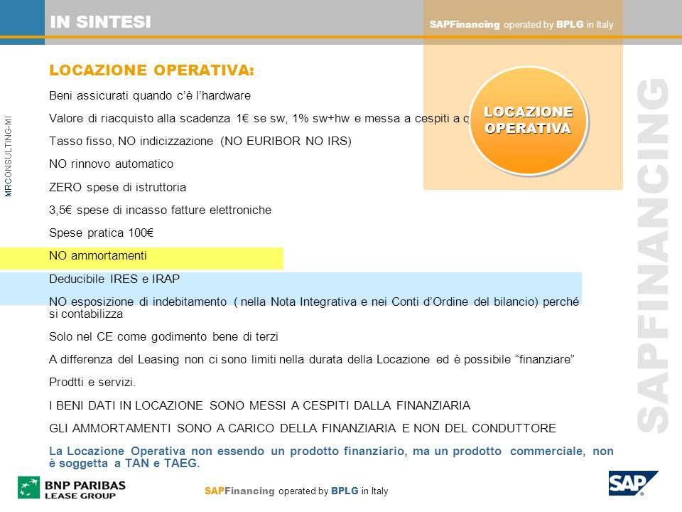 SAPFINANCING SAPFinancing operated by BPLG in Italy IN SINTESI LOCAZIONE OPERATIVA: Beni assicurati quando cè lhardware Valore di riacquisto alla scad