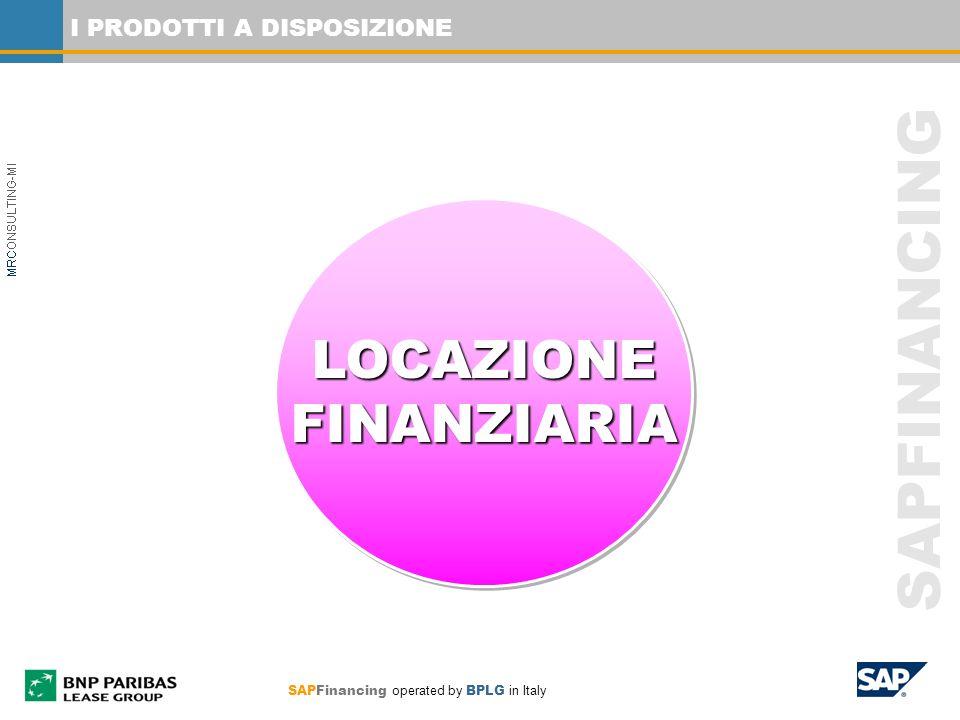 SAPFinancing operated by BPLG in Italy SAPFINANCING I PRODOTTI A DISPOSIZIONE LOCAZIONEFINANZIARIALOCAZIONEFINANZIARIA
