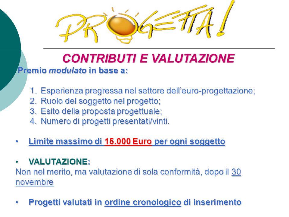 CONTRIBUTI E VALUTAZIONE Premio modulato in base a: Premio modulato in base a: 1.
