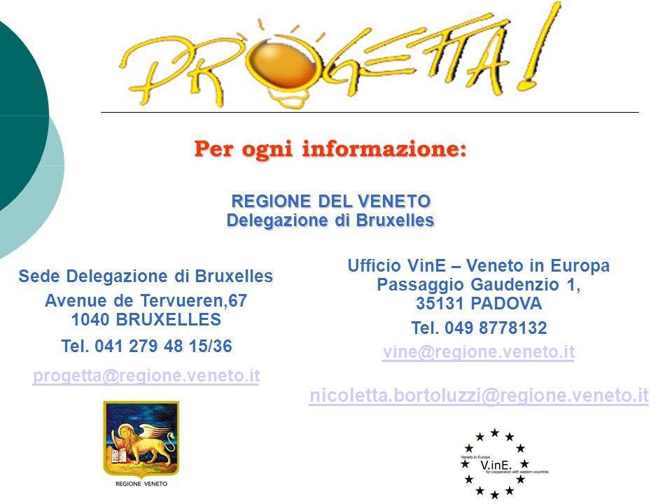 Per ogni informazione: REGIONE DEL VENETO Delegazione di Bruxelles Ufficio VinE – Veneto in Europa Passaggio Gaudenzio 1, 35131 PADOVA Tel.