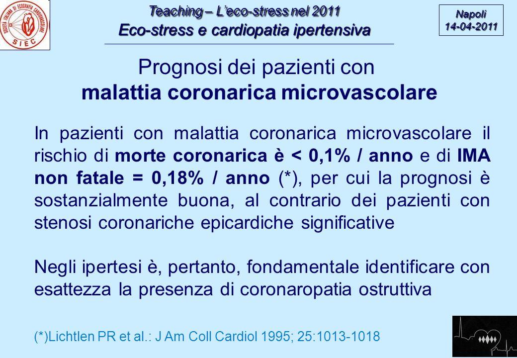 Teaching – Leco-stress nel 2011 Eco-stress e cardiopatia ipertensiva Napoli14-04-2011 In pazienti con malattia coronarica microvascolare il rischio di