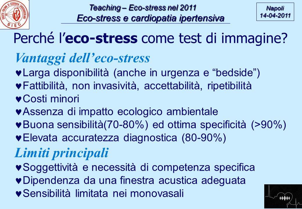 Teaching – Eco-stress nel 2011 Eco-stress e cardiopatia ipertensiva Eco-stress e cardiopatia ipertensiva Napoli14-04-2011 Perché leco-stress come test