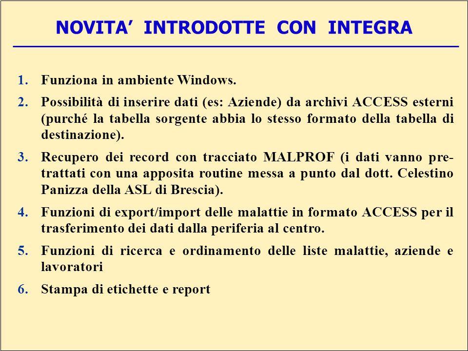 NOVITA INTRODOTTE CON INTEGRA 1.Funziona in ambiente Windows.