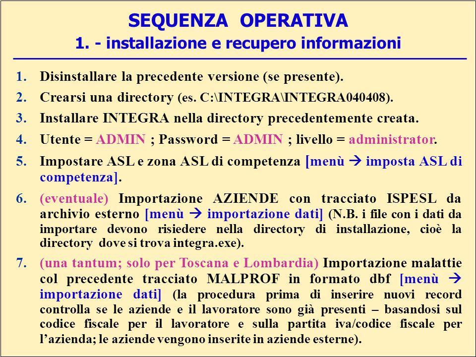 SEQUENZA OPERATIVA 1.