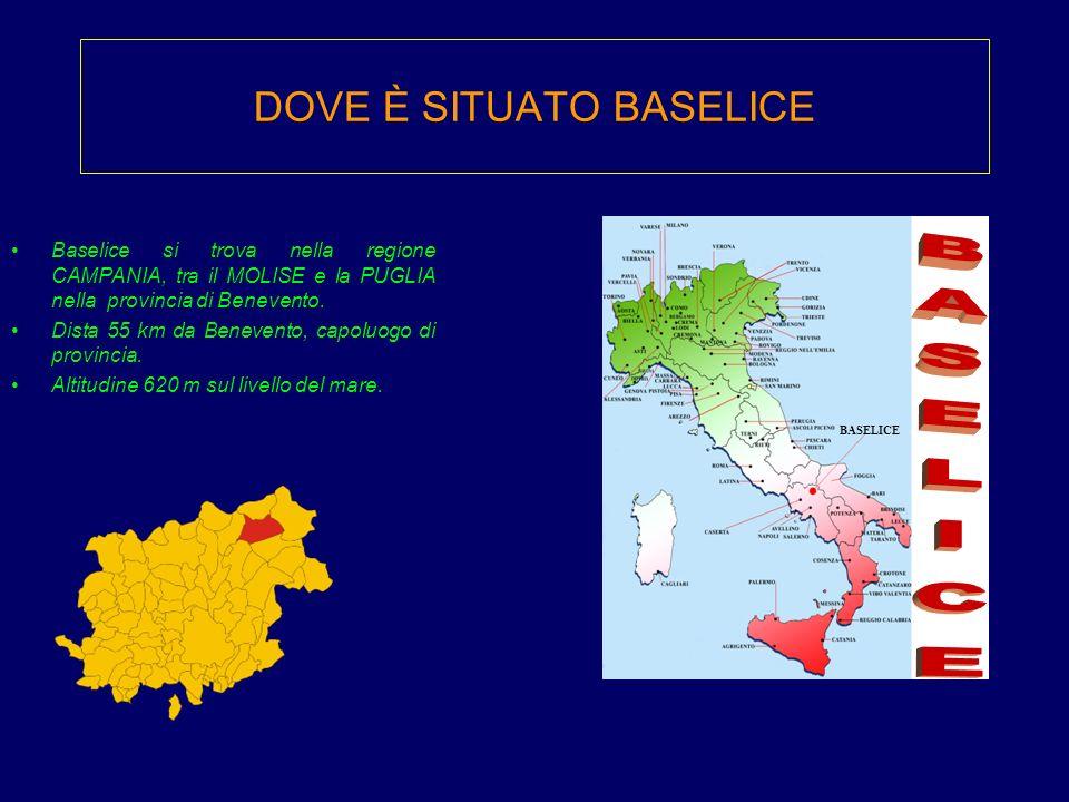 DOVE È SITUATO BASELICE Baselice si trova nella regione CAMPANIA, tra il MOLISE e la PUGLIA nella provincia di Benevento. Dista 55 km da Benevento, ca