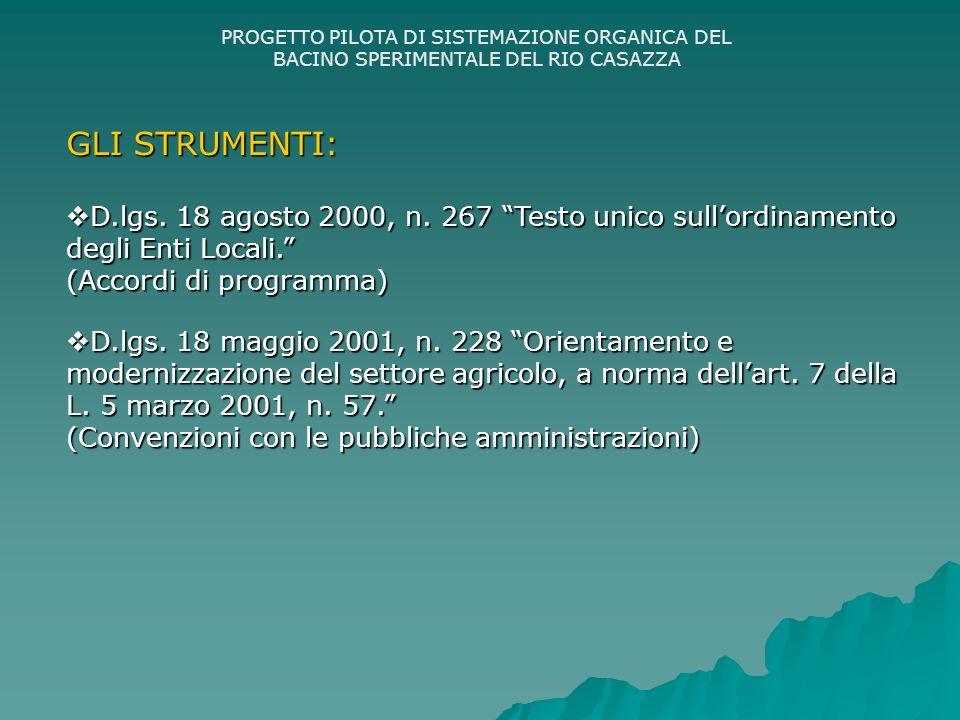 PROGETTO PILOTA DI SISTEMAZIONE ORGANICA DEL BACINO SPERIMENTALE DEL RIO CASAZZA GLI STRUMENTI: D.lgs.