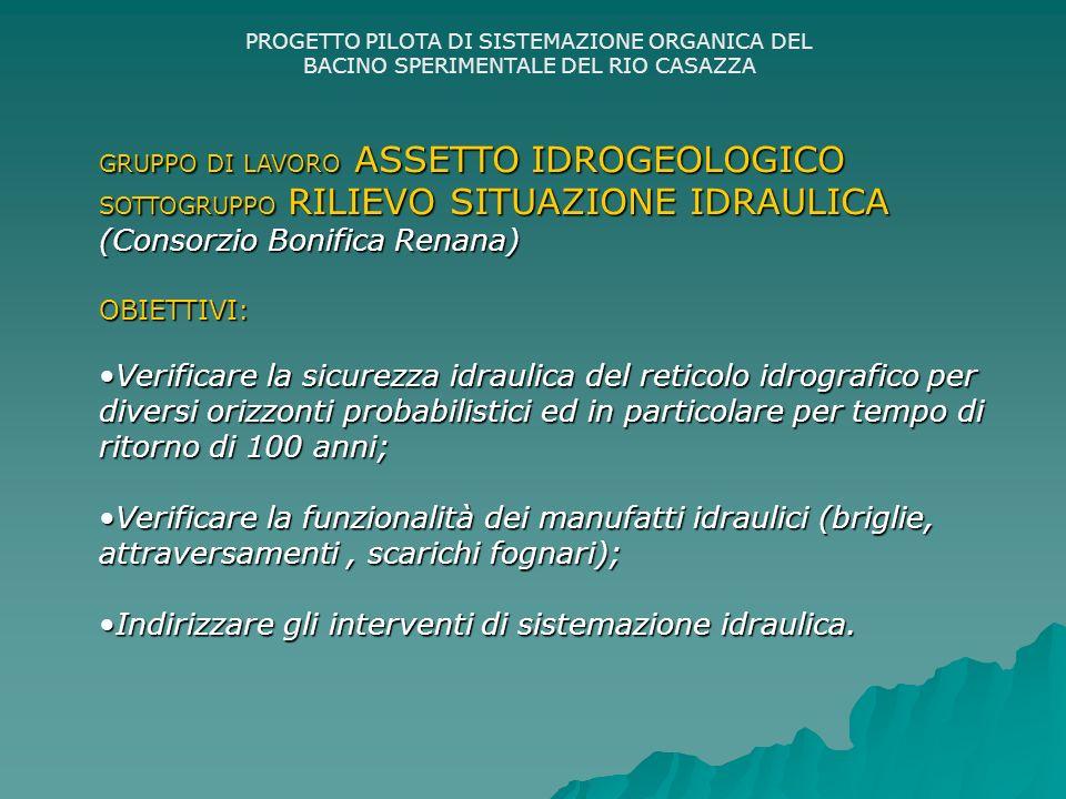 PROGETTO PILOTA DI SISTEMAZIONE ORGANICA DEL BACINO SPERIMENTALE DEL RIO CASAZZA GRUPPO DI LAVORO ASSETTO IDROGEOLOGICO SOTTOGRUPPO RILIEVO SITUAZIONE IDRAULICA (Consorzio Bonifica Renana) OBIETTIVI: Verificare la sicurezza idraulica del reticolo idrografico per diversi orizzonti probabilistici ed in particolare per tempo di ritorno di 100 anni;Verificare la sicurezza idraulica del reticolo idrografico per diversi orizzonti probabilistici ed in particolare per tempo di ritorno di 100 anni; Verificare la funzionalità dei manufatti idraulici (briglie, attraversamenti, scarichi fognari);Verificare la funzionalità dei manufatti idraulici (briglie, attraversamenti, scarichi fognari); Indirizzare gli interventi di sistemazione idraulica.Indirizzare gli interventi di sistemazione idraulica.