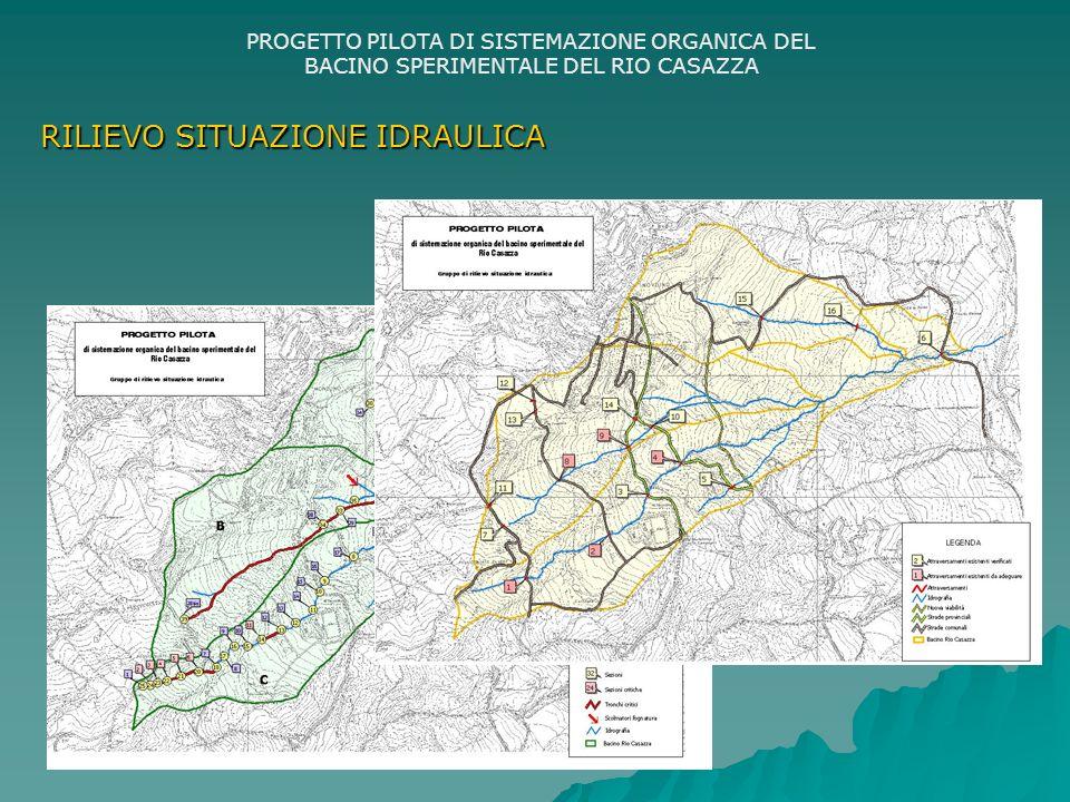 PROGETTO PILOTA DI SISTEMAZIONE ORGANICA DEL BACINO SPERIMENTALE DEL RIO CASAZZA RILIEVO SITUAZIONE IDRAULICA