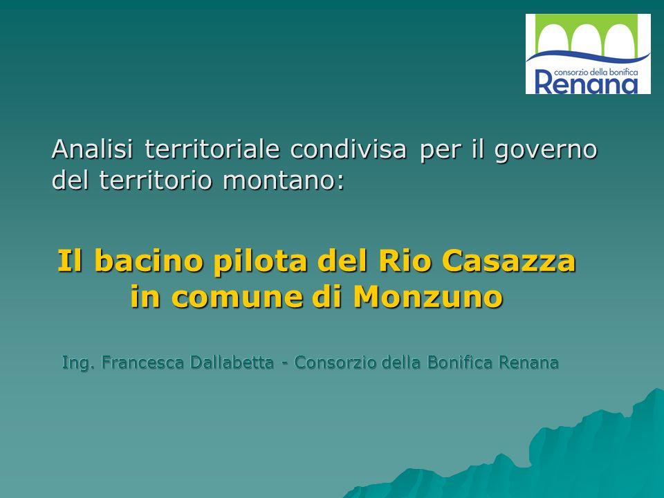 PROGETTO PILOTA DI SISTEMAZIONE ORGANICA DEL BACINO SPERIMENTALE DEL RIO CASAZZA Rilievo delle infrastrutture esistenti