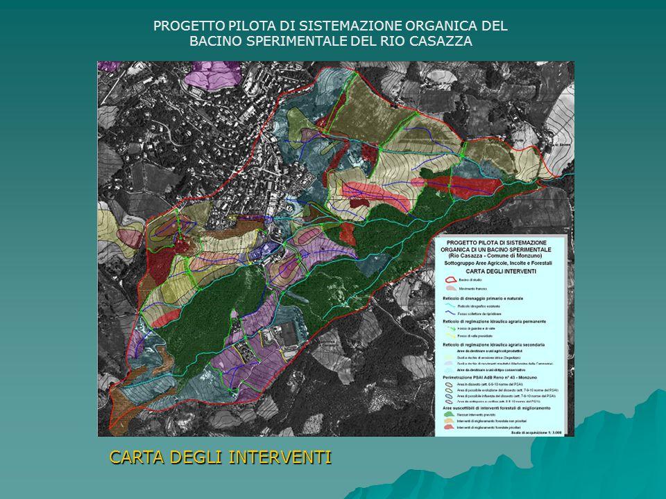 PROGETTO PILOTA DI SISTEMAZIONE ORGANICA DEL BACINO SPERIMENTALE DEL RIO CASAZZA CARTA DEGLI INTERVENTI