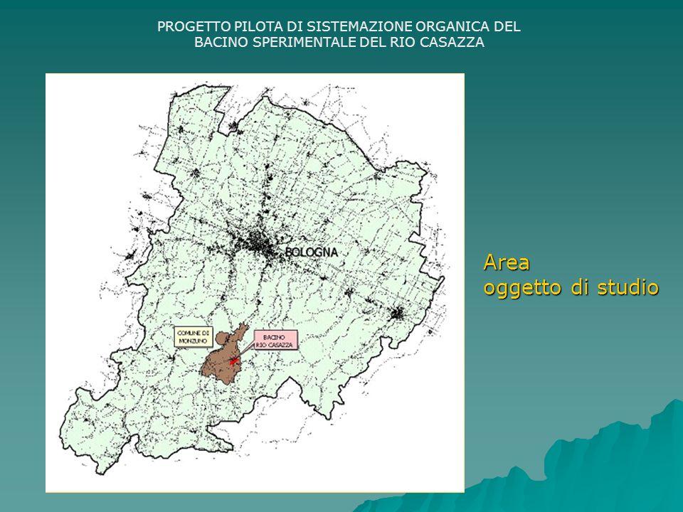 PROGETTO PILOTA DI SISTEMAZIONE ORGANICA DEL BACINO SPERIMENTALE DEL RIO CASAZZA FINALITA DEL PROGETTO: Definire un quadro conoscitivo completo del bacino; Definire un quadro conoscitivo completo del bacino; Individuare le principali criticità infrastrutturali e ambientali presenti; Individuare le principali criticità infrastrutturali e ambientali presenti; Definire un progetto preliminare degli interventi necessari alla sistemazione del bacino.