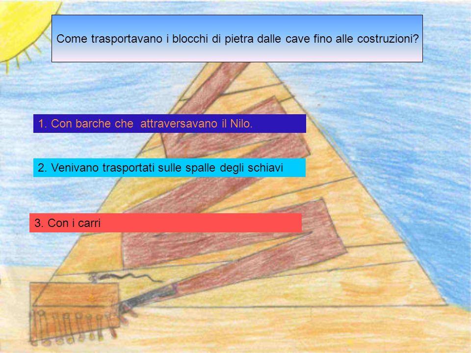 1.Con barche che attraversavano il Nilo. 2. Venivano trasportati sulle spalle degli schiavi 3.