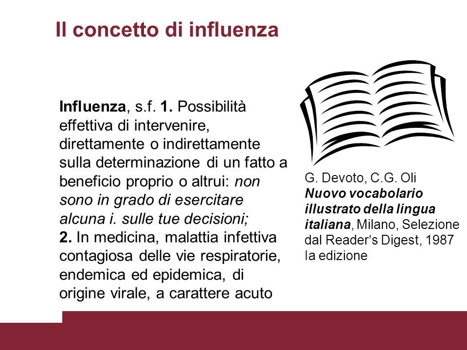 Il concetto di influenza Influenza, s.f. 1. Possibilità effettiva di intervenire, direttamente o indirettamente sulla determinazione di un fatto a ben