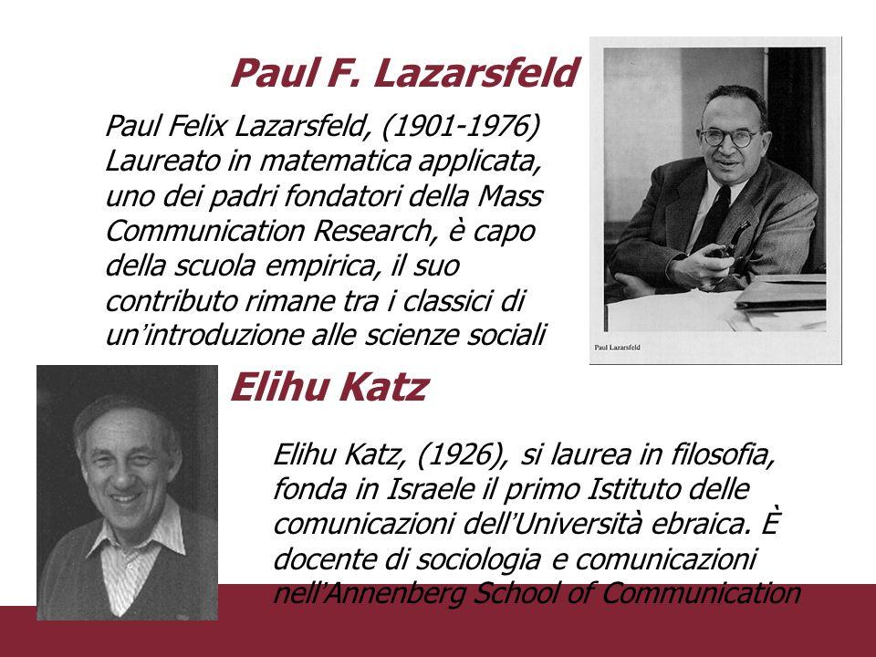 Paul Felix Lazarsfeld, (1901-1976) Laureato in matematica applicata, uno dei padri fondatori della Mass Communication Research, è capo della scuola em