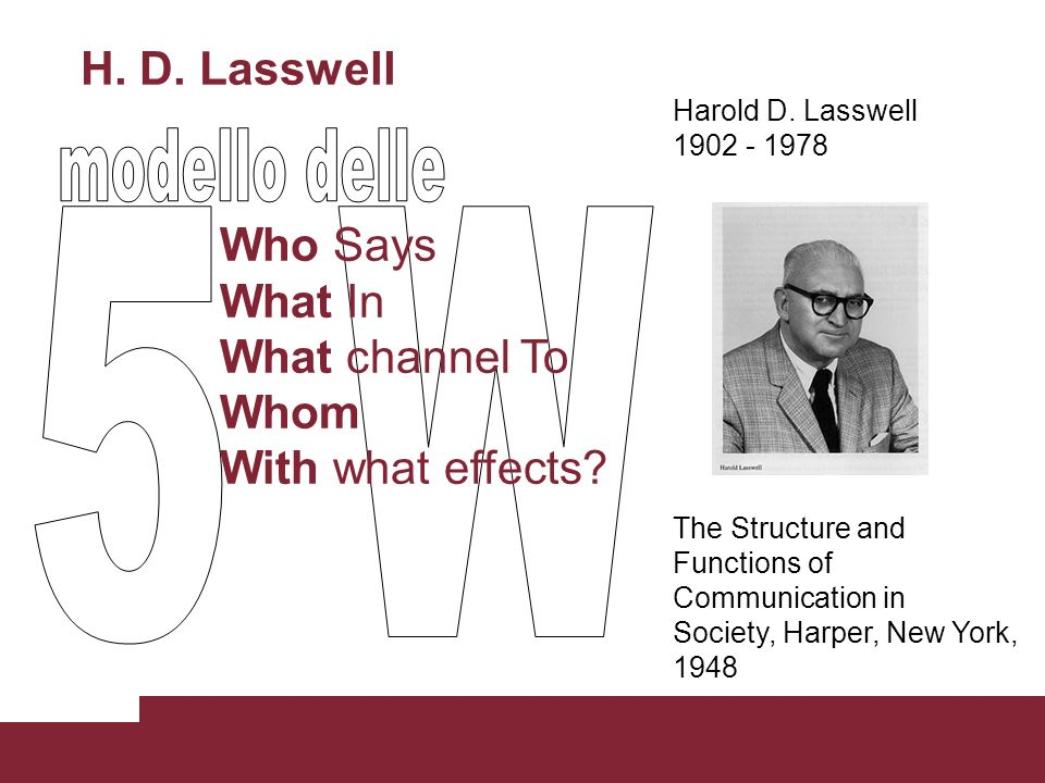 H. D. Lasswell Who Says What In What channel To Whom With what effects? Harold D. Lasswell 1902 - 1978 The Structure and Functions of Communication in