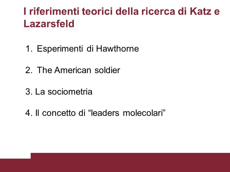 1.Esperimenti di Hawthorne 2.The American soldier 3. La sociometria 4. Il concetto di leaders molecolari I riferimenti teorici della ricerca di Katz e