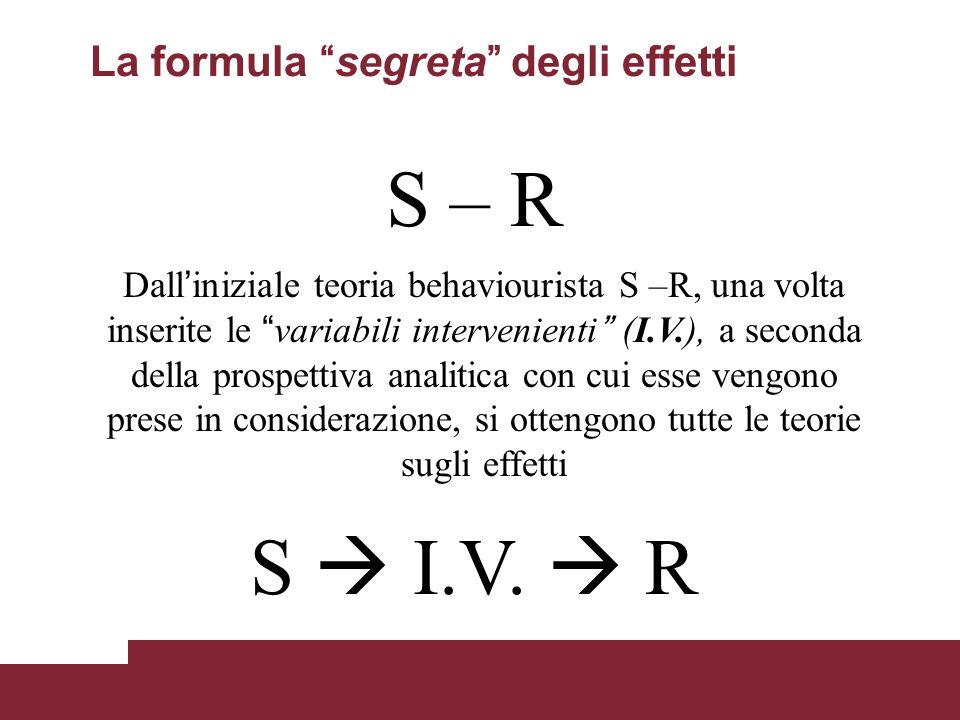 La formula segreta degli effetti Dall iniziale teoria behaviourista S –R, una volta inserite le variabili intervenienti (I.V.), a seconda della prospe
