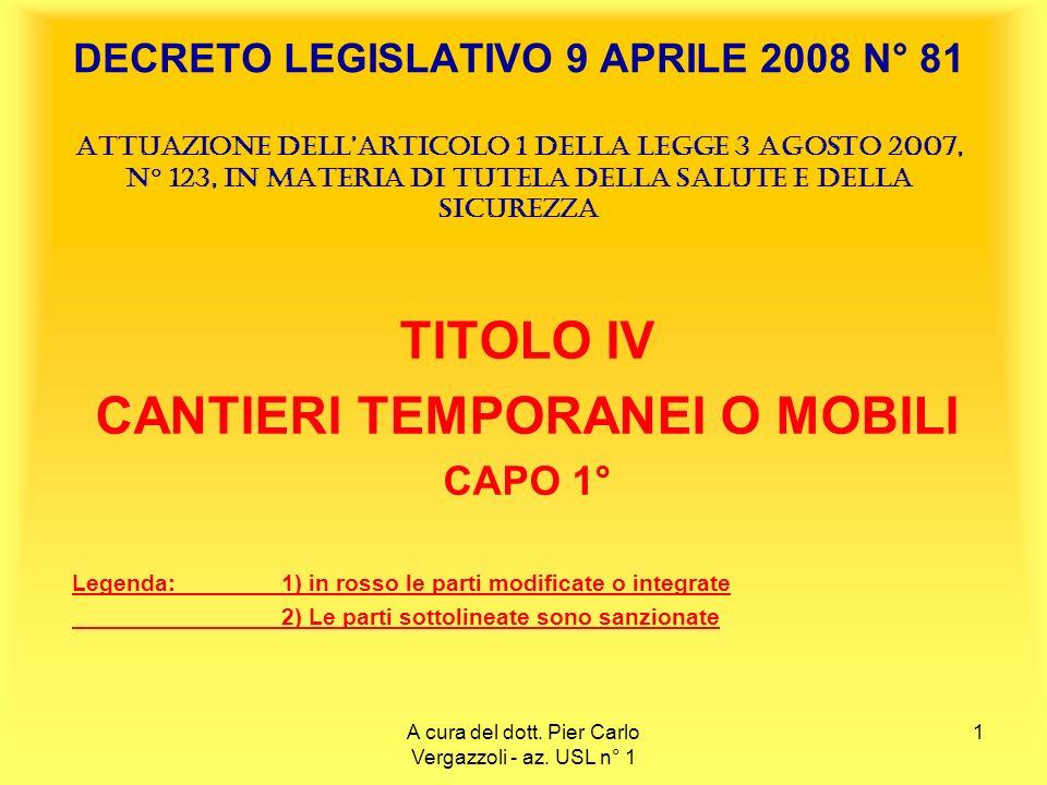 2 TITOLO IV – CANTIERI TEMPORANEI O MOBILI Art.88.