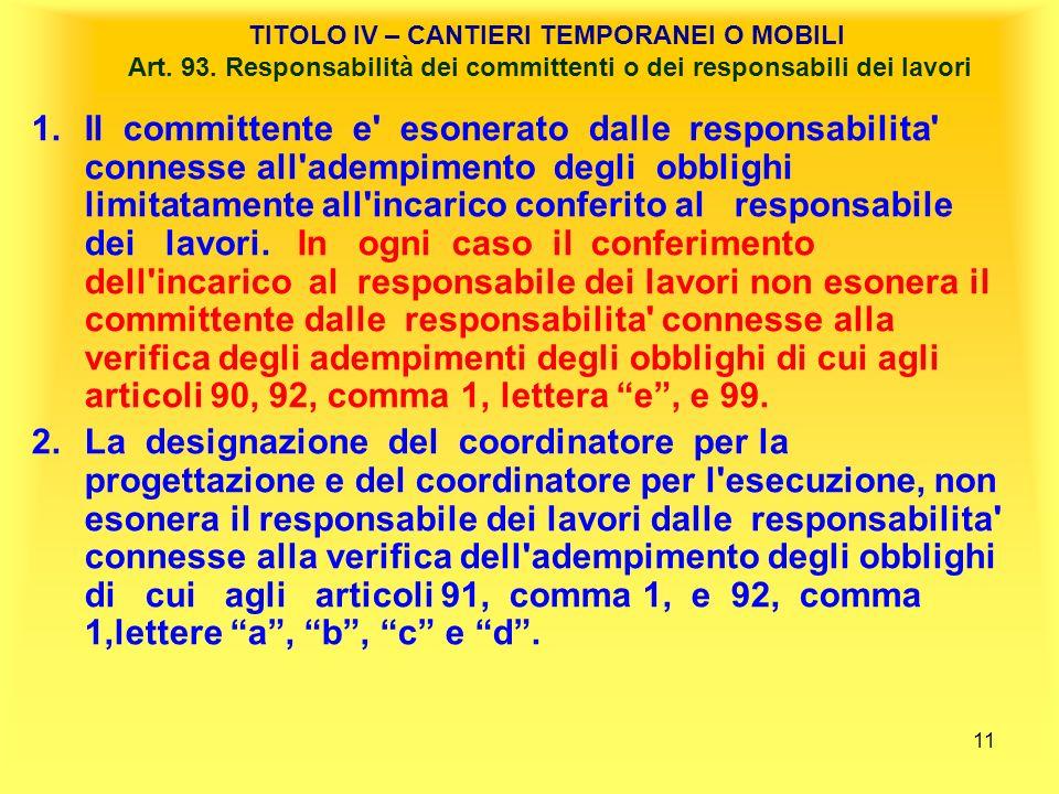 11 TITOLO IV – CANTIERI TEMPORANEI O MOBILI Art.93.