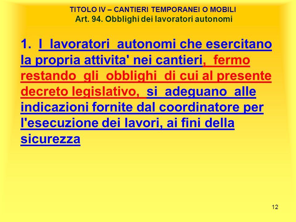 12 TITOLO IV – CANTIERI TEMPORANEI O MOBILI Art.94.