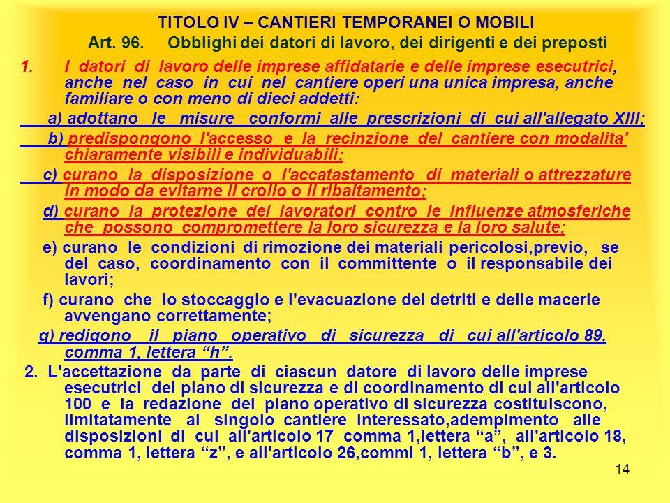 14 TITOLO IV – CANTIERI TEMPORANEI O MOBILI Art.96.