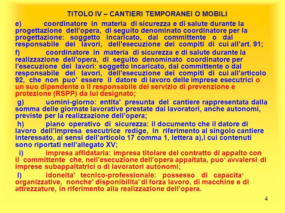 25 TITOLO IV – CANTIERI TEMPORANEI O MOBILI SANZIONI per i coordinatori ( Art.