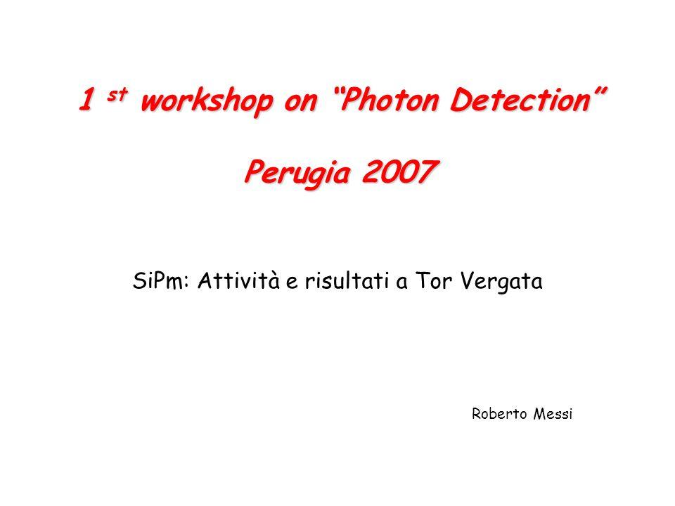 1 st workshop on Photon Detection Perugia 2007 SiPm: Attività e risultati a Tor Vergata Roberto Messi