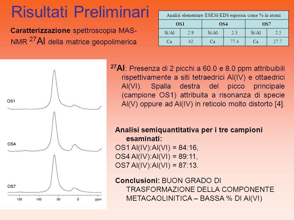 27 Al : Presenza di 2 picchi a 60.0 e 8.0 ppm attribuibili rispettivamente a siti tetraedrici Al(IV) e ottaedrici Al(VI). Spalla destra del picco prin