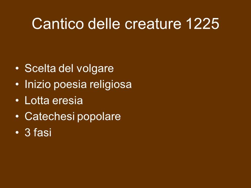 Cantico delle creature 1225 Scelta del volgare Inizio poesia religiosa Lotta eresia Catechesi popolare 3 fasi
