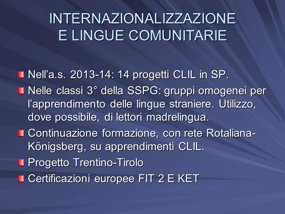 INTERNAZIONALIZZAZIONE E LINGUE COMUNITARIE Nella.s. 2013-14: 14 progetti CLIL in SP. Nelle classi 3° della SSPG: gruppi omogenei per lapprendimento d