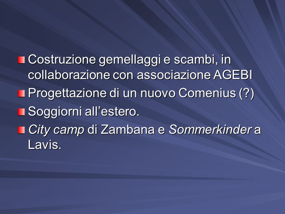 Costruzione gemellaggi e scambi, in collaborazione con associazione AGEBI Progettazione di un nuovo Comenius (?) Soggiorni allestero.