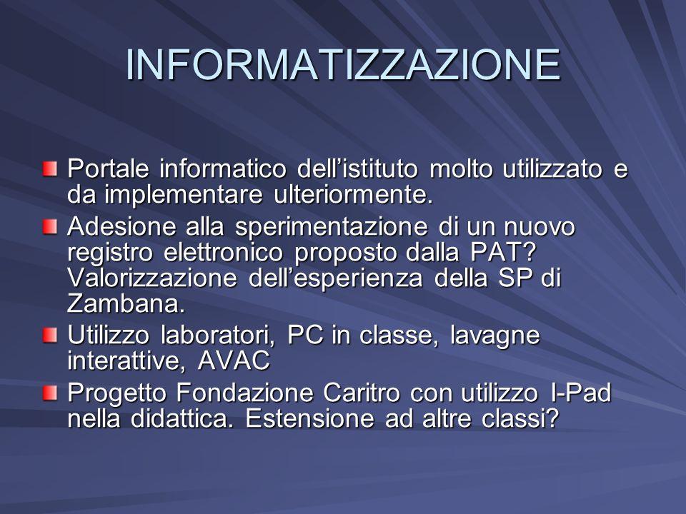 INFORMATIZZAZIONE Portale informatico dellistituto molto utilizzato e da implementare ulteriormente. Adesione alla sperimentazione di un nuovo registr